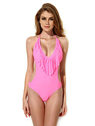 New Sexy Pink One-piece Swimwear with Fringe and Side Cut-outs in Low Price