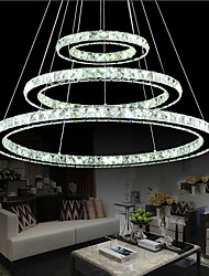 LED Crystal Pendant Lights Chandelier Lighting Transparent Crystal Round 3 Rings LED Cool White Ceiling Lamps Fixtures