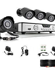 Zmodo 4 CH Key DVR 4 Outdoor 600TVL Day Night CCTV Home Security Camera System