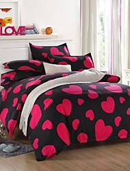 Mingjie Red Love Sanding Bedding Sets 4pcs Duvet Cover Sets Bed Linen China Queen Size and Full Size
