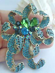 Women Accessories Gold-tone Turquoise Green Rhinestone Crystal Flower Brooch Art Deco Crystal Brooch Bouquet