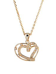 KuNiu Women's Vintage 18K Gold Plated Heart Pendant Necklace D0021
