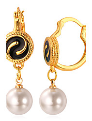 U7® Women's White Round Synthetic Pearls 18K Real Gold/Platinum Plated Elegant Drop Earrings