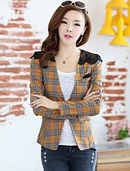Women's Sexy Work Medium Long Sleeve Regular Blazer (Lace Cotton)