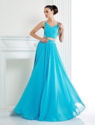 Formal Evening Dress - Two Pieces / Beautiful Back A-line Straps Floor-length Chiffon withBeading / Crystal Detailing / Pockets / Criss