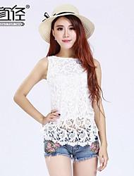 Women's Sleeveless Lace Splicing Tank Plus Size Slim Fit Shirt