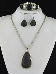 toonykelly vindima vulcão rocha antiga lava prata (brinco e colar e pulseira) Conjunto de jóias