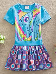 2015 New Summer Fashion Cartoon Beauty Dress Girl's Clothing Short Sleeve Princess Dresses (Cotton)