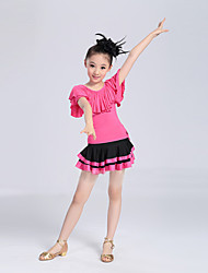 Latin Dance Performance Outfits Children's Performance/Training Polyester Pleated Outfit Fuchsia/Red Kids Dance Costumes