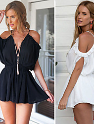 Y&Z Women's Sexy Straps Short Sleeve Dresses (Chiffon)