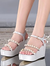 Women's Shoes Leather Wedge Heel Wedges Sandals Casual Black/Silver