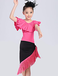 Latin Dance Performance Outfits Children's Performance/Training Polyester Tassel Outfit Blue/Fuchsia/Red Kids Dance Costumes