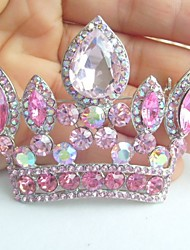 Wedding Accessories Silver-tone Pink Rhinestone Crystal Crown Brooch Art Deco Crystal Brooch Bouquet Women Jewelry