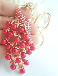 Peafowl Peacock KeyChain Bags Handbags Pendant With Red Rhinestone Crystals