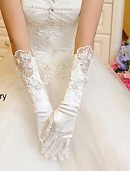Wrist Length Fingertips Glove Elastic Satin Bridal Gloves Winter Gloves Spring Fall Winter Floral