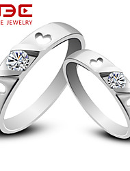 NBE Sterling Silver/Zircon Ring LOVE Couple Rings/Midi Rings/Band Rings/Statement Rings Wedding/Party/Daily/Casual 1pair