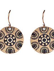 Antique Jewelry Gold &Sliver Plated Ethnic Round Shaped Pendants Statement Dangle Earrings for women