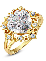 T&C Women's 18K Yellow Gold Plated Shining Clear Crystal Simulated Diamond Heart Finger Ring