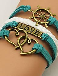 I&U   Women's  Restore ancient ways the rudder double heart Love multilayer bracelet