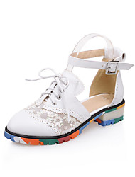 Women's Shoes Chunky Heel Ankle Strap/Round Toe Loafers Dress Black/White