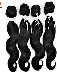 3pcs / lot cabelo preto natural não processada 100% corpo onda cabelo remy indiano tece