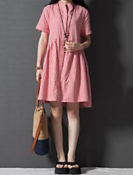 De las mujeres Tallas Grandes Vestido Tallas Grandes / Casual / Bonito Cuadrícula Sobre la rodilla Escote Chino Algodón / Lino