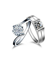His and Her Jewelry Engagement Sterling Silver Couple Rings 2CT Simulate Diamond Platinum Plated Propose Lover's Jewelry