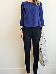 Women's Geometric/Solid Blue Set , Vintage/Casual/Party/Work/Plus Sizes Round Neck Long Sleeve