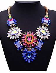 JQ Jewelry Big Name Multi-color Crystal Flower Necklace