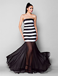 TS Couture Formal Evening Dress - See Through Trumpet / Mermaid Strapless Sweep / Brush Train Chiffon Satin with Ruching