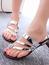 Sandales ( Simili Cuir , Noir/Or/Argent ) Talon plat - 0-3cm pour Chaussures femme