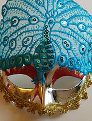 pavão exibido multa partido penas da cauda halloween masquerade cor da máscara azul