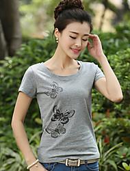 Mulheres Camiseta Manga Curta Estampado Algodão Mulheres
