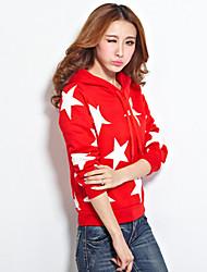 Women's Print Blue/Red/Yellow/Gray Hoodies , Casual Long Sleeve