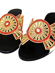 Women's Shoes Glitter/Leatherette Flat Heel Slingback Sandals/Flats/Slippers Wedding/Party & Evening/Casual Multi-color
