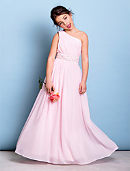 Lanting Bride® Floor-length Chiffon Junior Bridesmaid Dress A-line One Shoulder with Beading / Sash / Ribbon / Side Draping