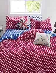 Red/Blue Heart Bedding Set of 4pcs Queen/Twin Set