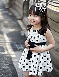 Girl's White Dots Bowknot Princess Dress