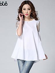Women's O-neck Beaded Diamond Sheer Half Sleeve Pure Cotton Puff Pleated Tops Blouse