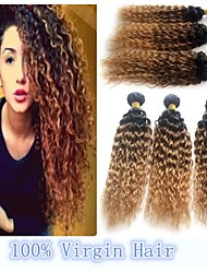 3pcs/lot Newest Hot Good Quality Brazilian Remy Human Weave Hair #1B/33/27 Curly Three Tone Ombre Hair Extensions