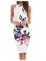 Women's Floral White,Sheath Crew Neck Sleeveless