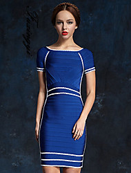 FUXIANGYI® Women's Simplicity Cocktail Party Contrast Color Sheath/Column Strapless Knee-length Spandex/Polyester Dress