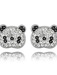 Little Bear Stud Earring Plated with 18K True Platinum Jet Black Clear Crystallized Austrian Crystal Stones