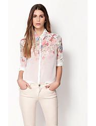 Chemises informelles ( Mousseline ) Imprimé Col chemise à Manches longues pour Femme