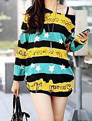 Mulheres Blusa Casual Simples / Moda de Rua Primavera / Outono,Estampado Manga Longa Fina
