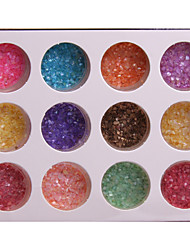 24 Colors Colorfull Glitter Paillette Shell Power small Circle Bottle Nail Art Decorations