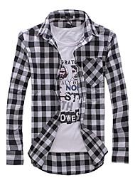 mens longue à carreaux à manches vérifié chemises sport garçons minces chemises tops propres à
