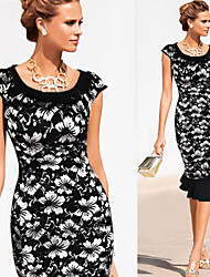 Para Women's Bodycon/Print/Cute/Party Flower Short Sleeve Dresses (Cotton Blend)