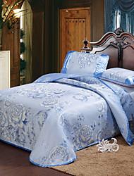 Johnson Ice Silk Mat Three-piece  Folding Floral Blue Mat Suite