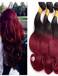 3Pcs/Lot Brazilian Virgin Hair Body Wave Ombre Hair Extensions Two Tone 1B/99J Ombre Brazilian human Hair Weaves